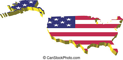 vectors 3D map of United States