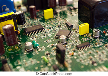 Technolgy - Electrical circuit detail. Shallow depth of...