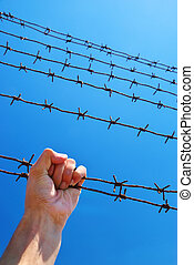 Hand of prison and sky background. Conceptual scene.