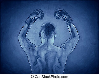 boxer blue - An image of a muscular boxer in blue
