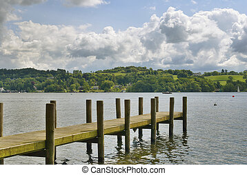 Jetty on Windermere - An angled view of a jetty on...