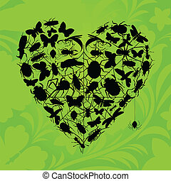 Heart of insects - Heart from insects on a green background...