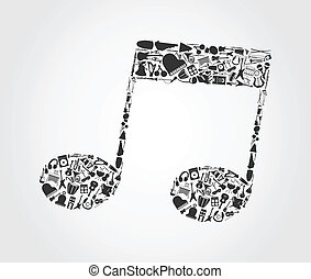 Musical note3 - The musical note made of musical instruments...