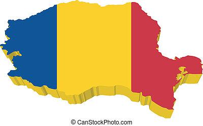 vectors 3D map of Romania