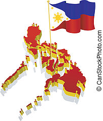 image map of Philippines - three-dimensional image map of...