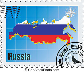 vector stamp with Russia