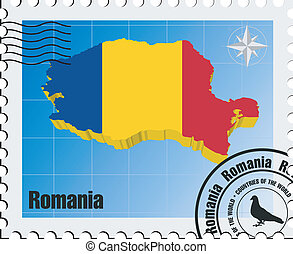 vector stamp with Romania