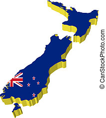 vectors 3D map of New Zealand