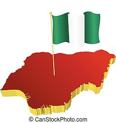 image map of Nigeria - three-dimensional image map of...