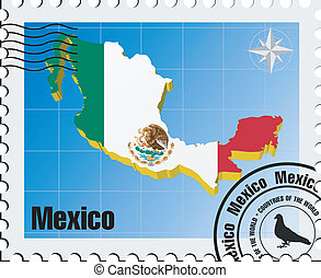 vector stamp with Mexico
