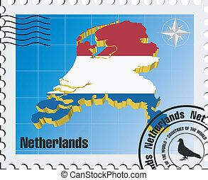 vector stamp with Netherlands