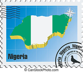 vector stamp with Nigeria