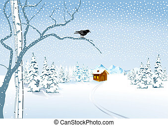 a cottage in the snow