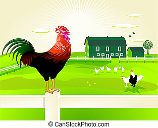 cock with his farm