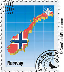 vector stamp with Norway