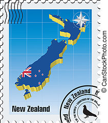 vector stamp with New Zealand