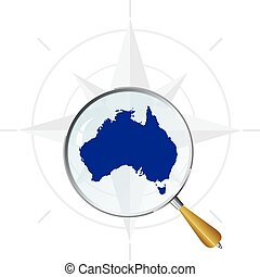 vector silhouette of Australia under the magnifying glass