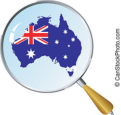 vector silhouette of Australia with the flag under the...