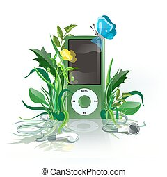 iPod green - Green iPod with earphones in grass.