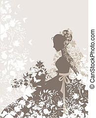 Vintage girl - Vintage background with flowers and bride...