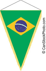 national flag of Brazil - vector pennant with the national...