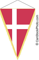 flag of Denmark - vector pennant with the national flag of...