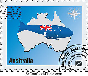 vector stamp with maps of Australia