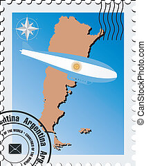 vector stamp with maps of Argentina