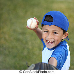 Young Boy with Basball Glove and Ball - Happy smiling young...