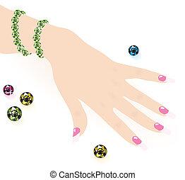 verde, esmeralda, pulsera, mujer, mano, vector