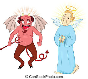 devil and angel - cartoon devil and angel