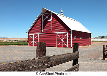 New Barn and fence, south Oregon.