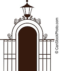 vintage gate to the park with lamp, vector illustration
