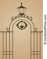 Ancient gate of restaurant or bar , vector illustration