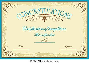 certificado, plantilla