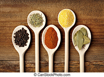 seasoning spice food ingredients - collection of various...