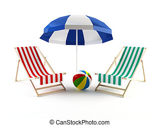 Beach chairs and umbrella - 3D rendering of a couple of...