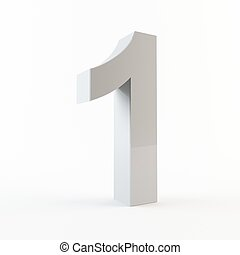 3D number 1 - 3D rendering of number 1 on a white background