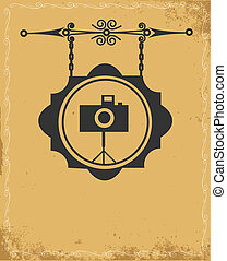 antique street sign of photo store , vector illustration