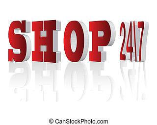 Shop 24\7,3d letters