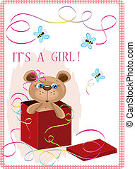 Valentine day postcard with bear