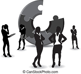business women - a set of business women on a jigsaw...
