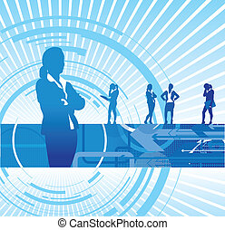 business women background - a set of business women on an...