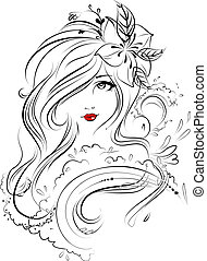 Face, Eyes, Hair and Beauty Illustrat - Its a hand drawn...