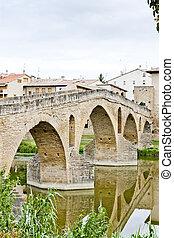 romanesque bridge over river Arga, Puente La Reina, Road to...