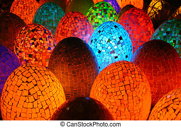 Colorful oval egg shaped lamps in Egypt