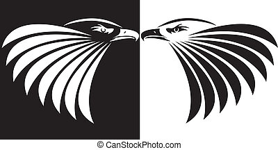 black & white - Eagle symbol isolated on black & white for...