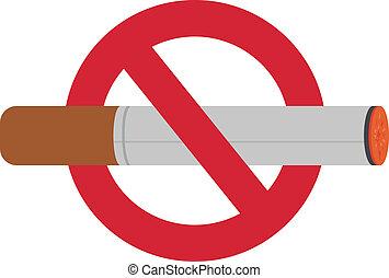 No smoking sign - Burning cigarette in no smoking sign;...