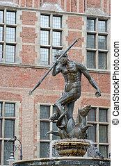 elegant fountain Neptune, Danzing, Gdansk, Poland. -...