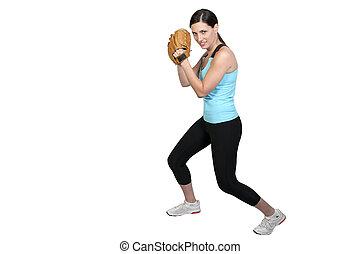 Woman Baseball Player - A beautiful woman baseball pitcher...